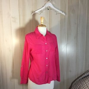 FOXCROFT PINK FLORAL SHAPED BUTTON UP BLOUSE